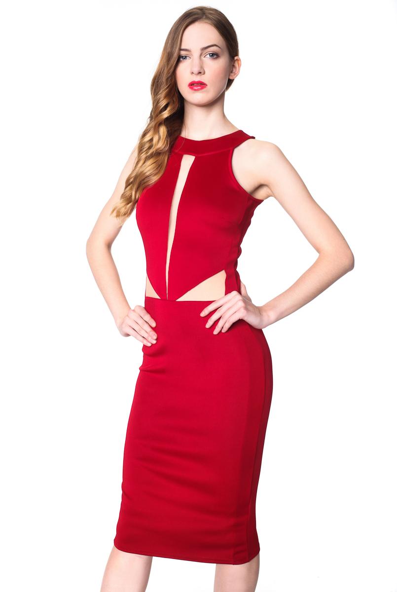sukienka czerwona ze wstawkami 1