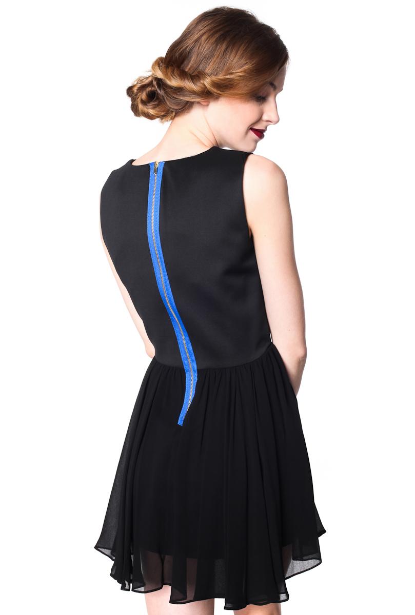 sukienka skater z suwakiem na niebieskiej tasiemce 3