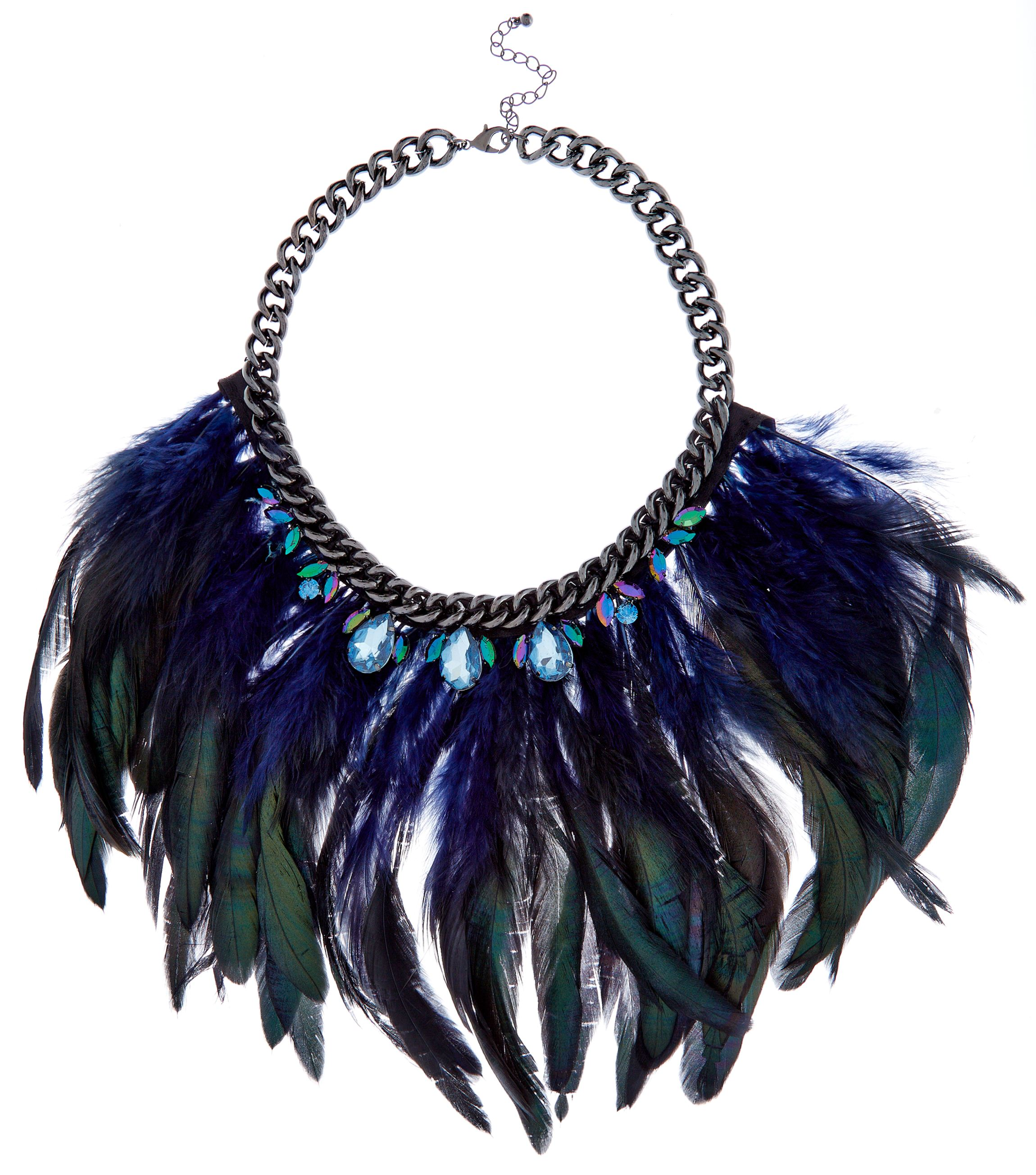 Green Premium Jewelled Feather Necklace _22.99