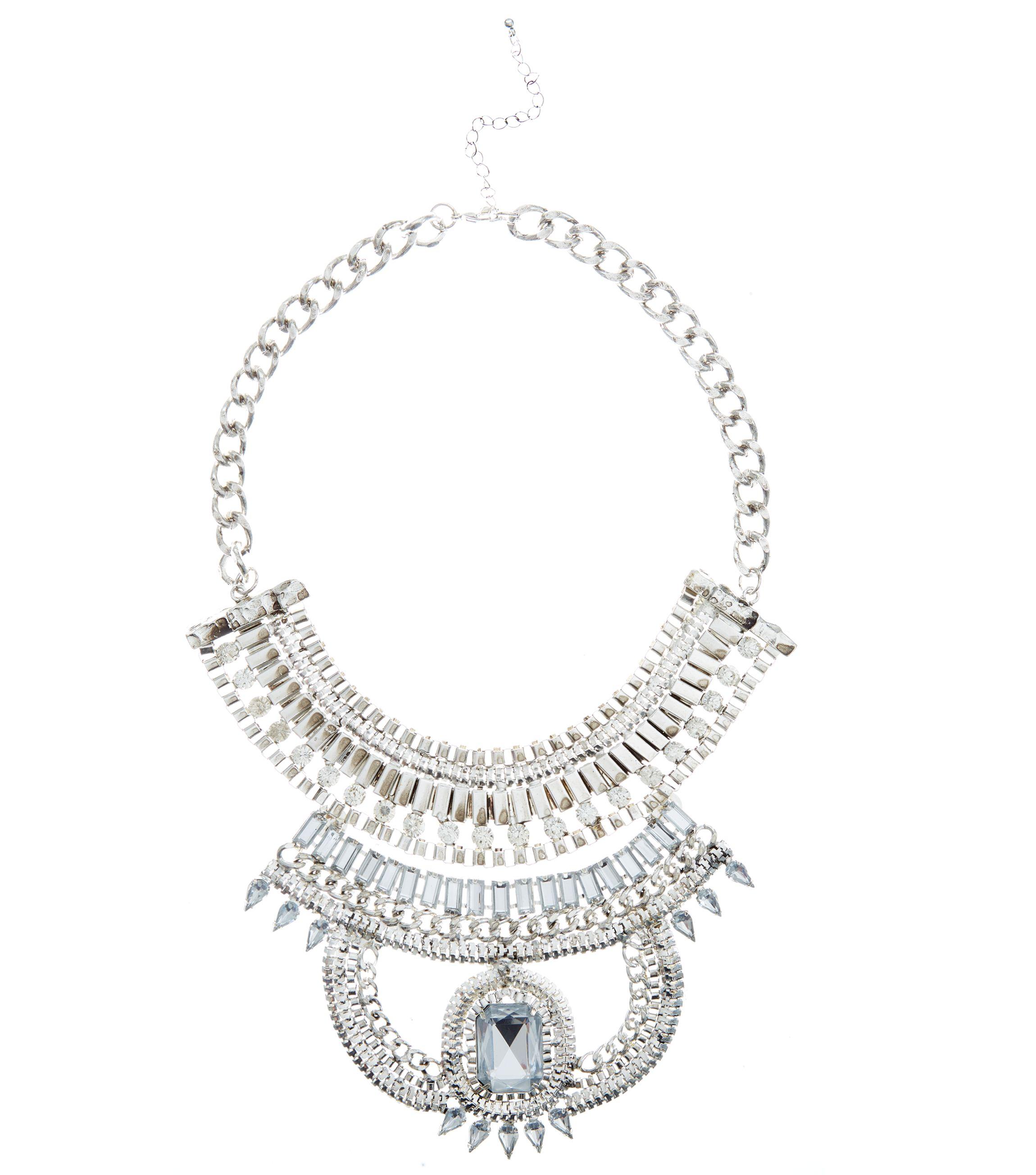 Silver Stone Chain Necklace _19.99